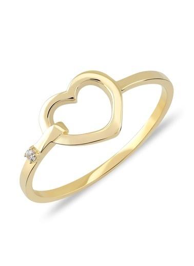 Piano Jewellery Cabaret Kilitli Kalp Altın Yüzük 14 Ayar Altın